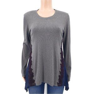 LOGO Lounge Dark Grey Ribbed Embroidered Top